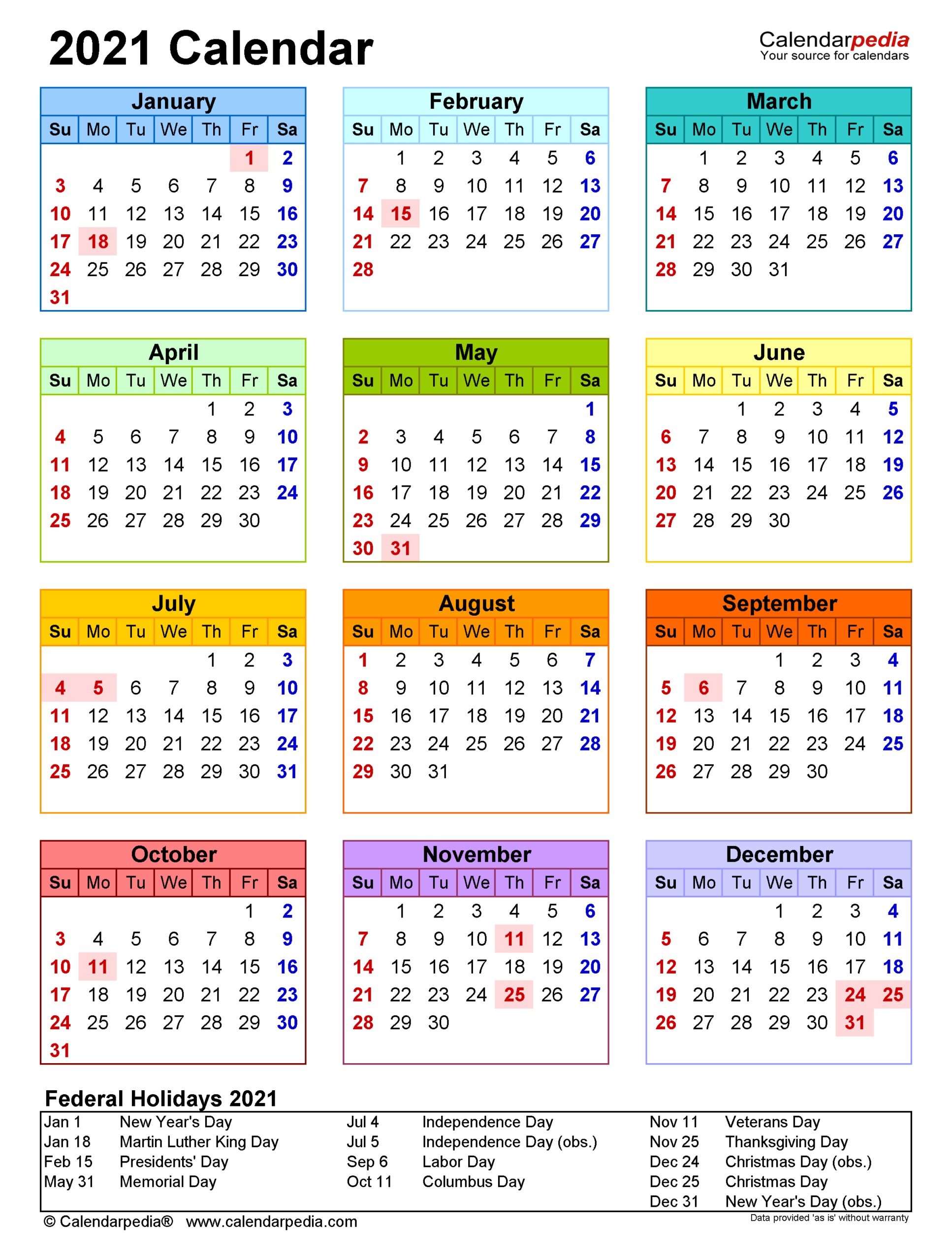 2021 Calendar Holidays And Observances | Printable-Printable Calendar 2021 With Major Holidays