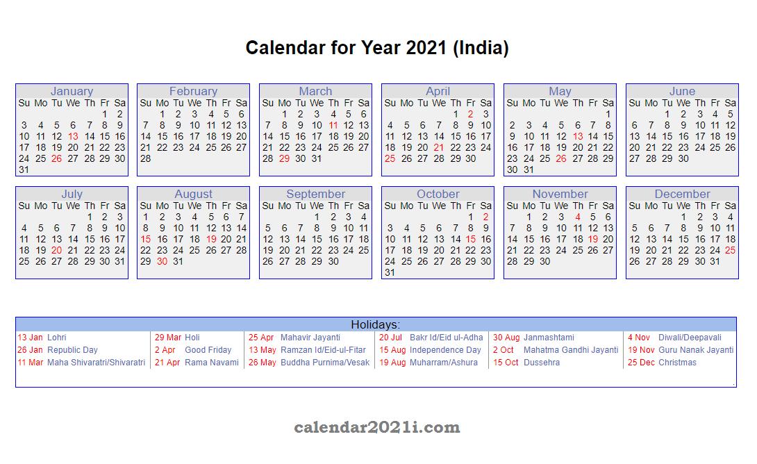 2021 Calendar Holidays List India   2021 Calendar-Printable List Of 2021 National Days