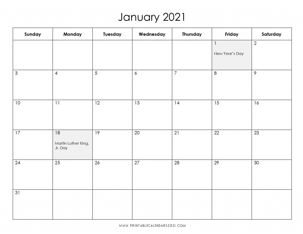 2021 Calendar One Month Per Page - Us Holidays 12 Month Pdf-Free Printable Calendar 2021 4 Months Per Page May August