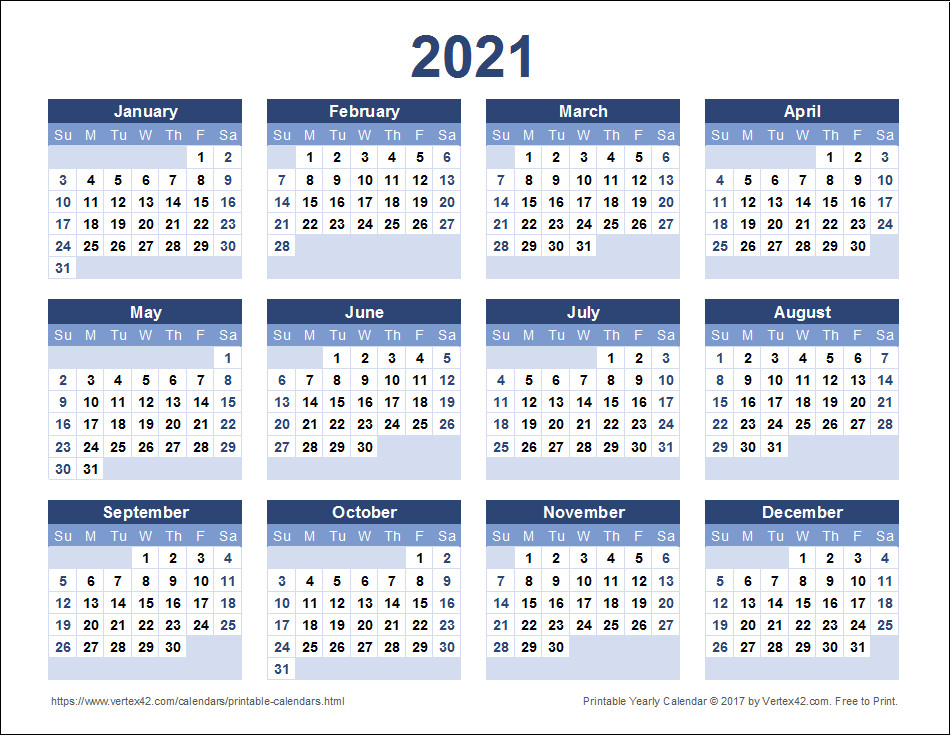 2021 Calendar Printable-Free Printable Calendar 2021 Monthly