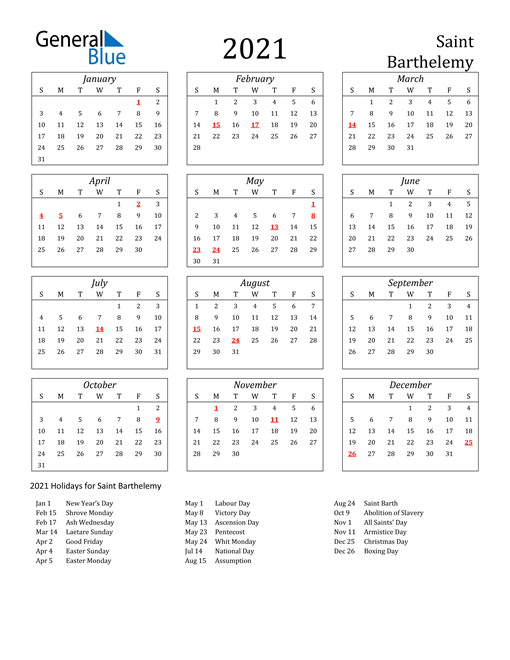2021 Calendar - Saint Barthelemy With Holidays-Excel List Of Holidays 2021