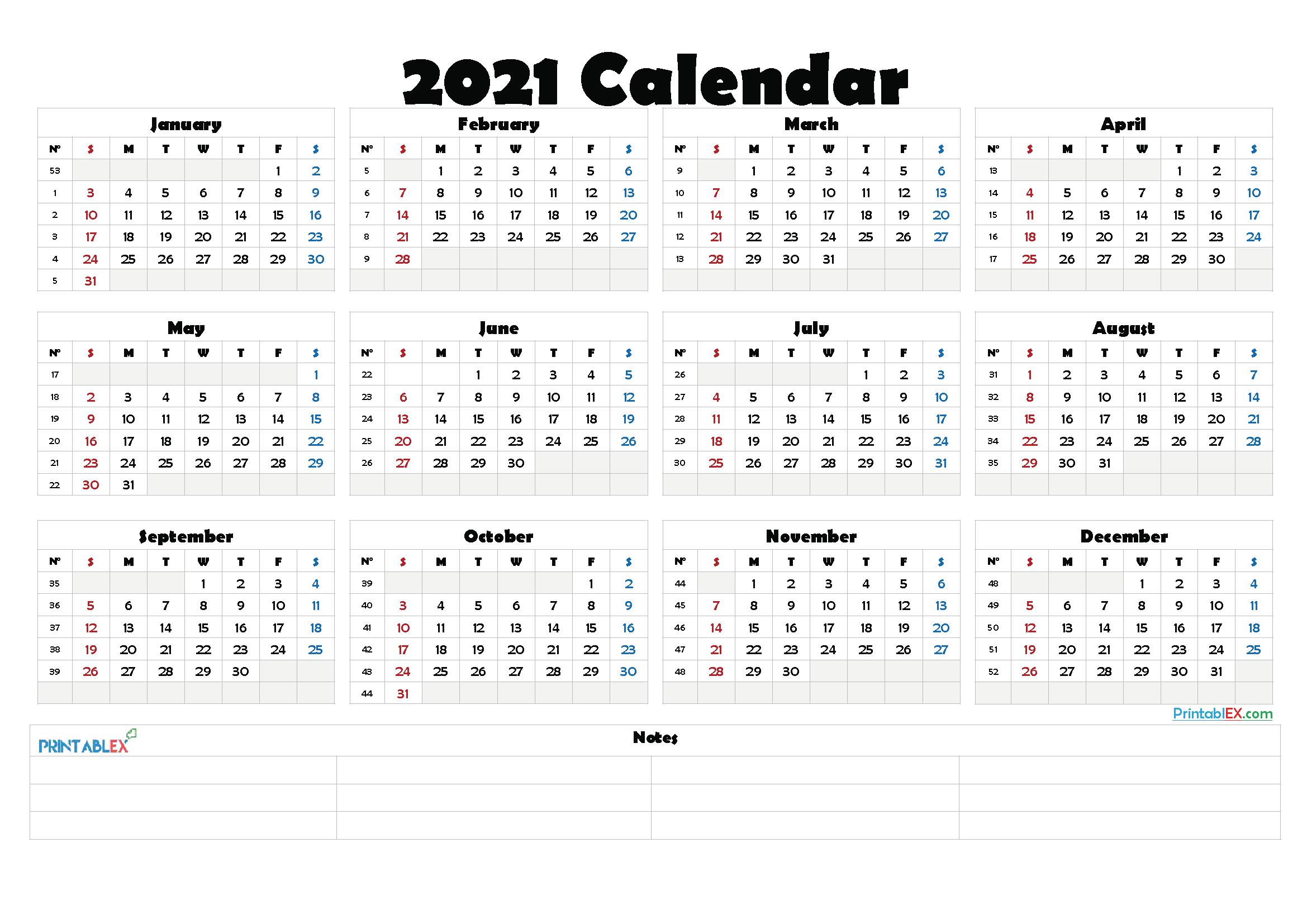 2021 Calendar Template With Week Numbers | 2022 Calendar-Excel Calendar 2021 With Week Numbers