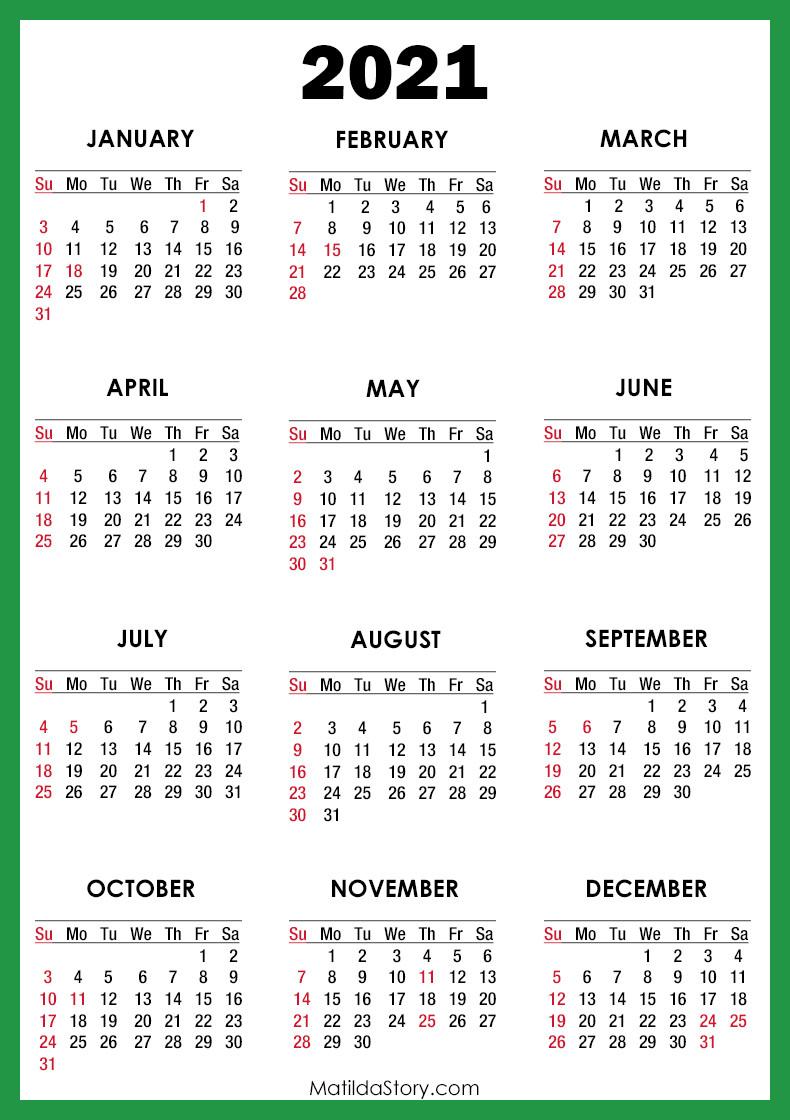 2021 Calendar With Holidays, Printable Free, Green-Printable Calendar 2021 With Major Holidays