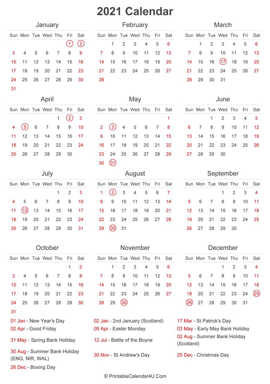 2021 Calendar With Uk Bank Holidays At Bottom (Portrait-2021 Uk Calendar With Bank Holidays