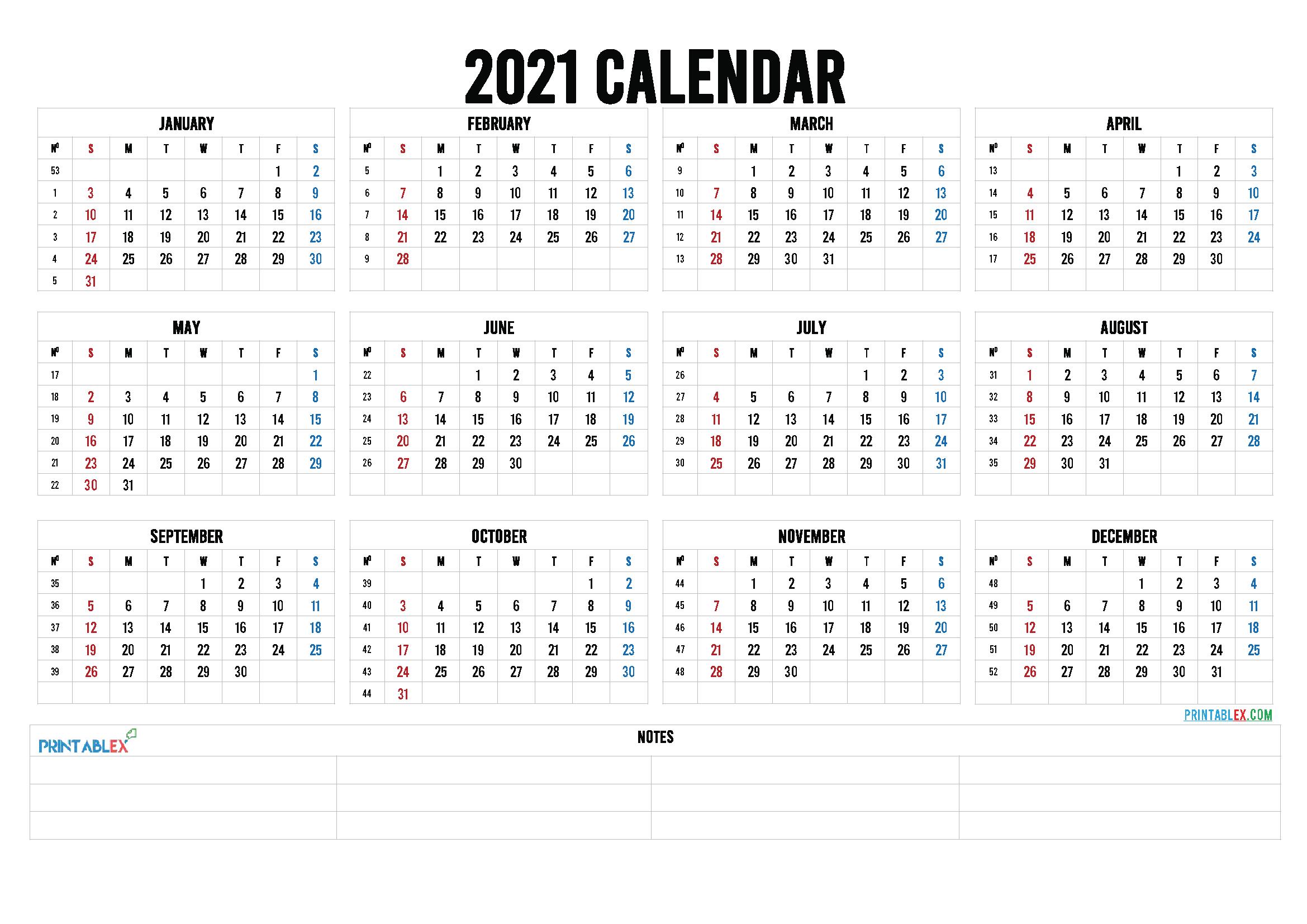 2021 Calendar With Week Number Printable Free : Free-Excel Calendar 2021 With Week Numbers
