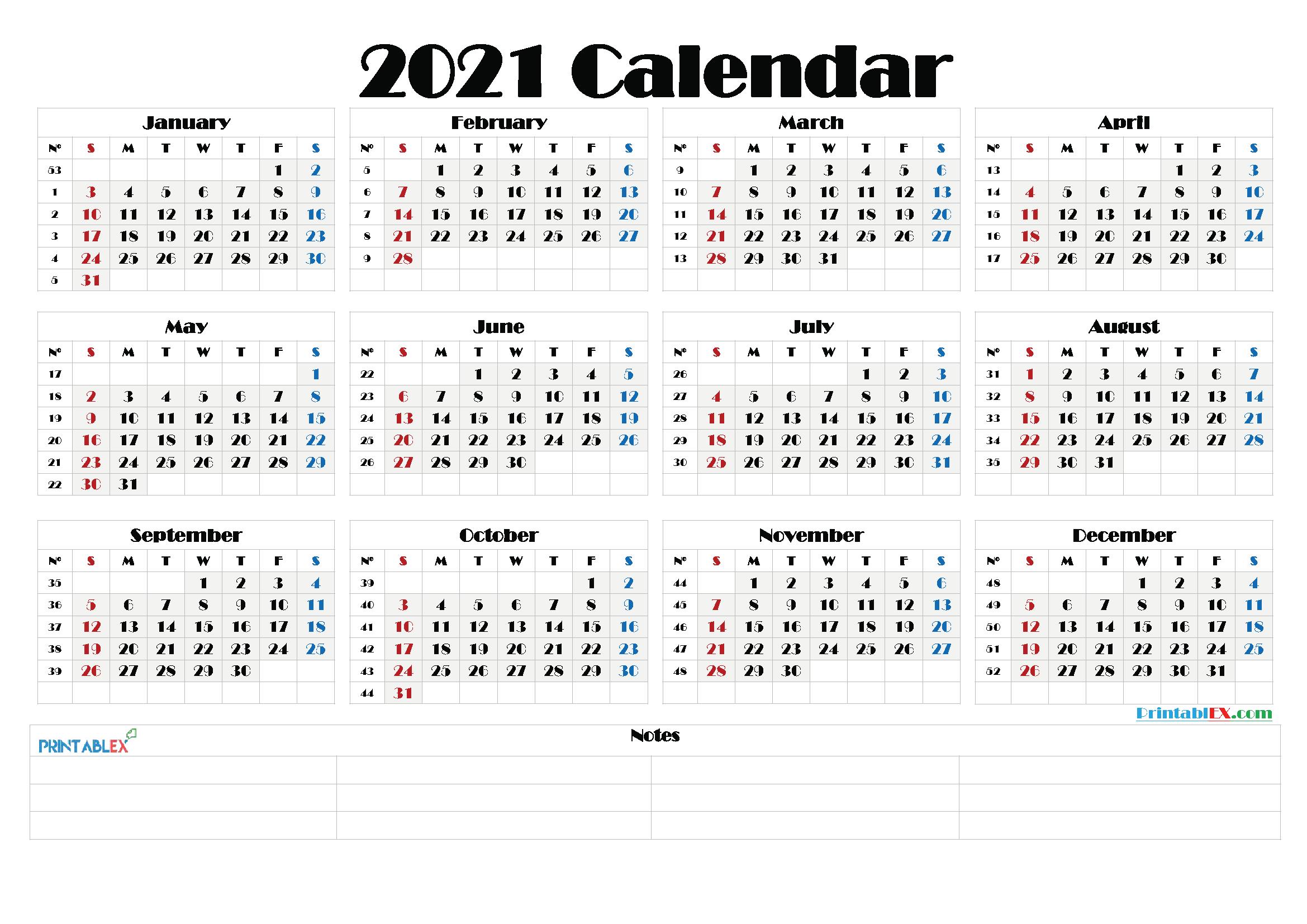 2021 Calendar With Week Number Printable Free : Weekly-Excel Calendar 2021 With Week Numbers