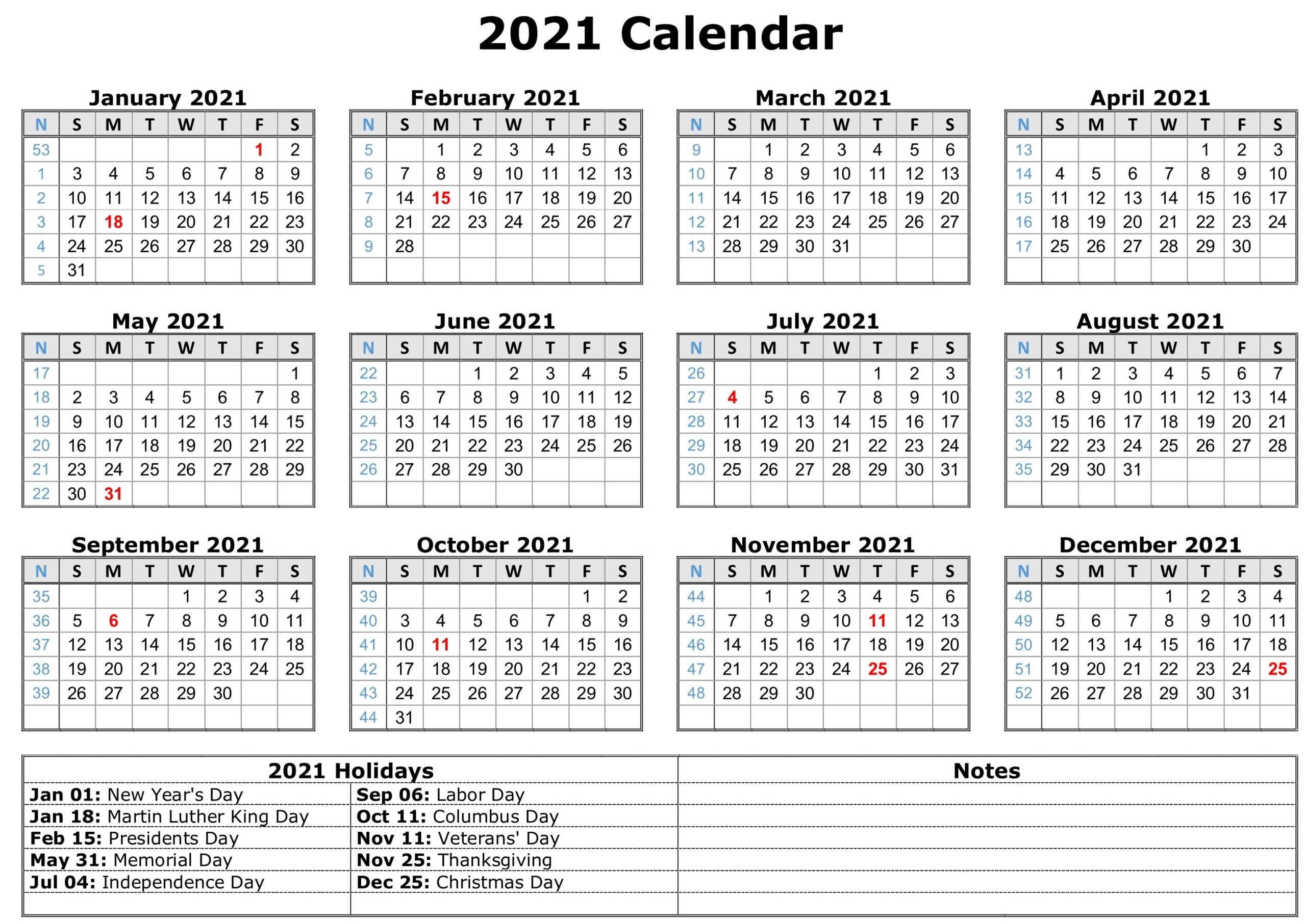 2021 Calendars With Holidays Printable - Printable Calendar-Printable Calendar 2021 With Major Holidays