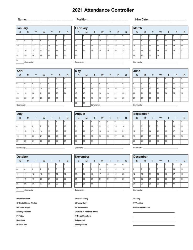 2021 Employee School Attendance Tracker Calendar Employee-Employee Attendance Calendar 2021