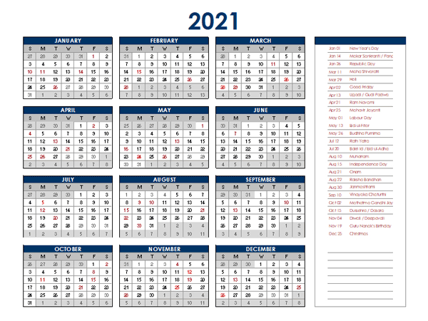 2021 India Annual Calendar With Holidays - Free Printable-Excel List Of Holidays 2021