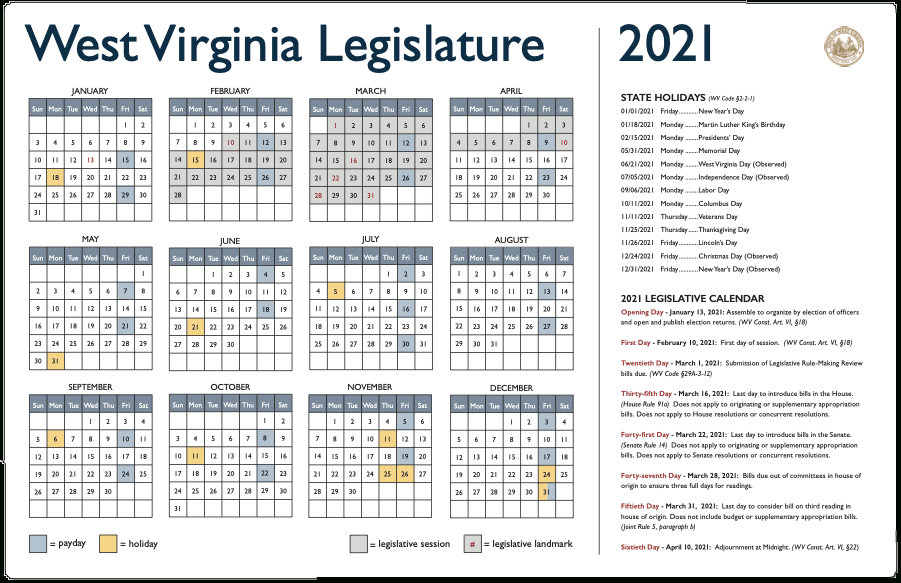 2021 Legislative Calendar-April 2021 Bill Payment