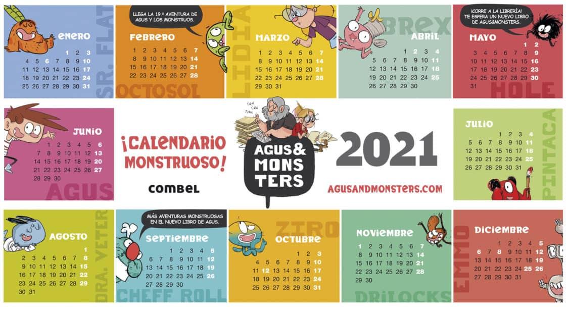2021 Monstrous Calendar Wallpaper! - Agus And Monsters-Monthly Calendar 2021 For Wallpaper