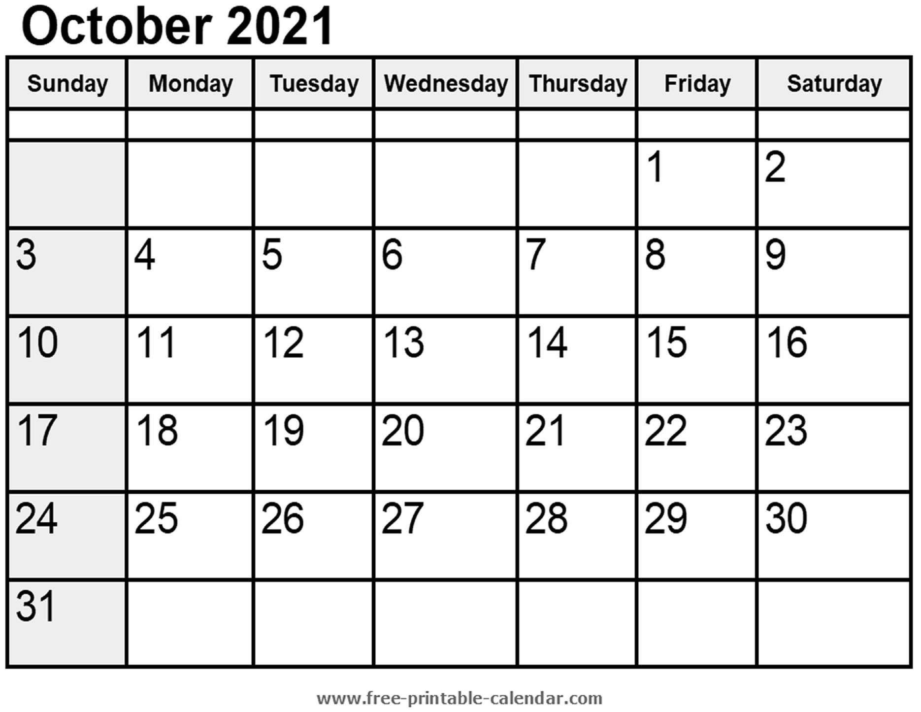 2021 Printable Calendar From October Thru December-Fill In Calendar January 2021