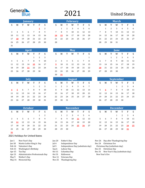 2021 Printable With Holidays-Fillable Calendar 2021-2021 Year