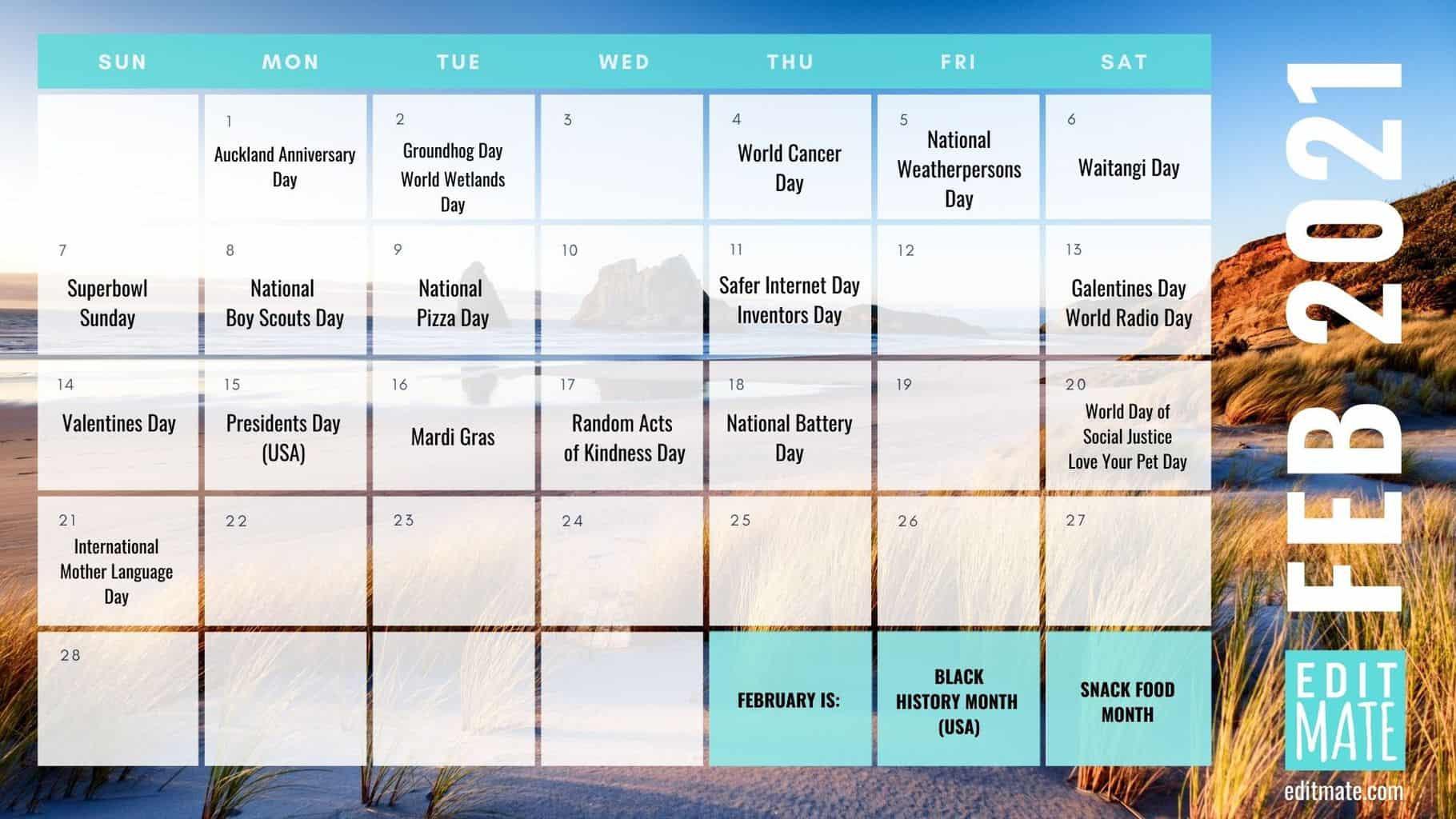 2021 Social Media Holiday Calendar   Editmate-National Food Days 2021