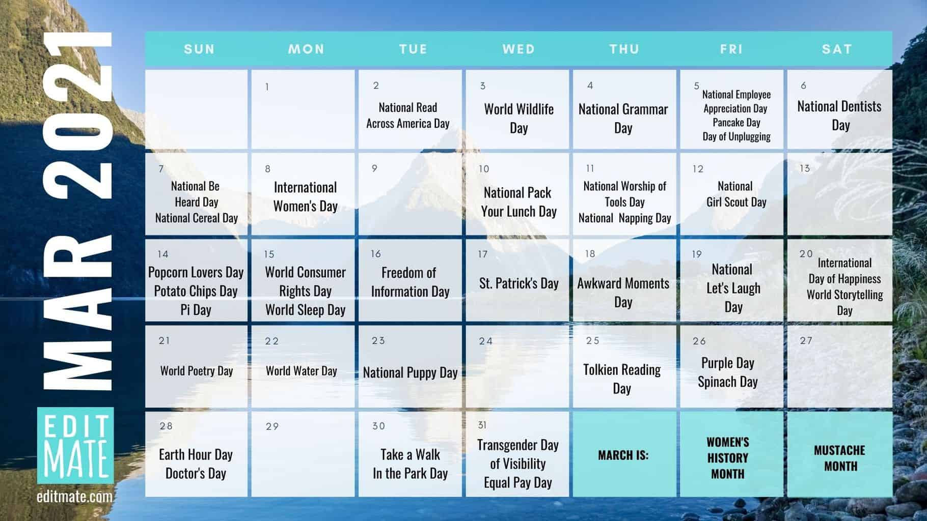 2021 Social Media Holiday Calendar   Editmate-Printable List Of 2021 National Days