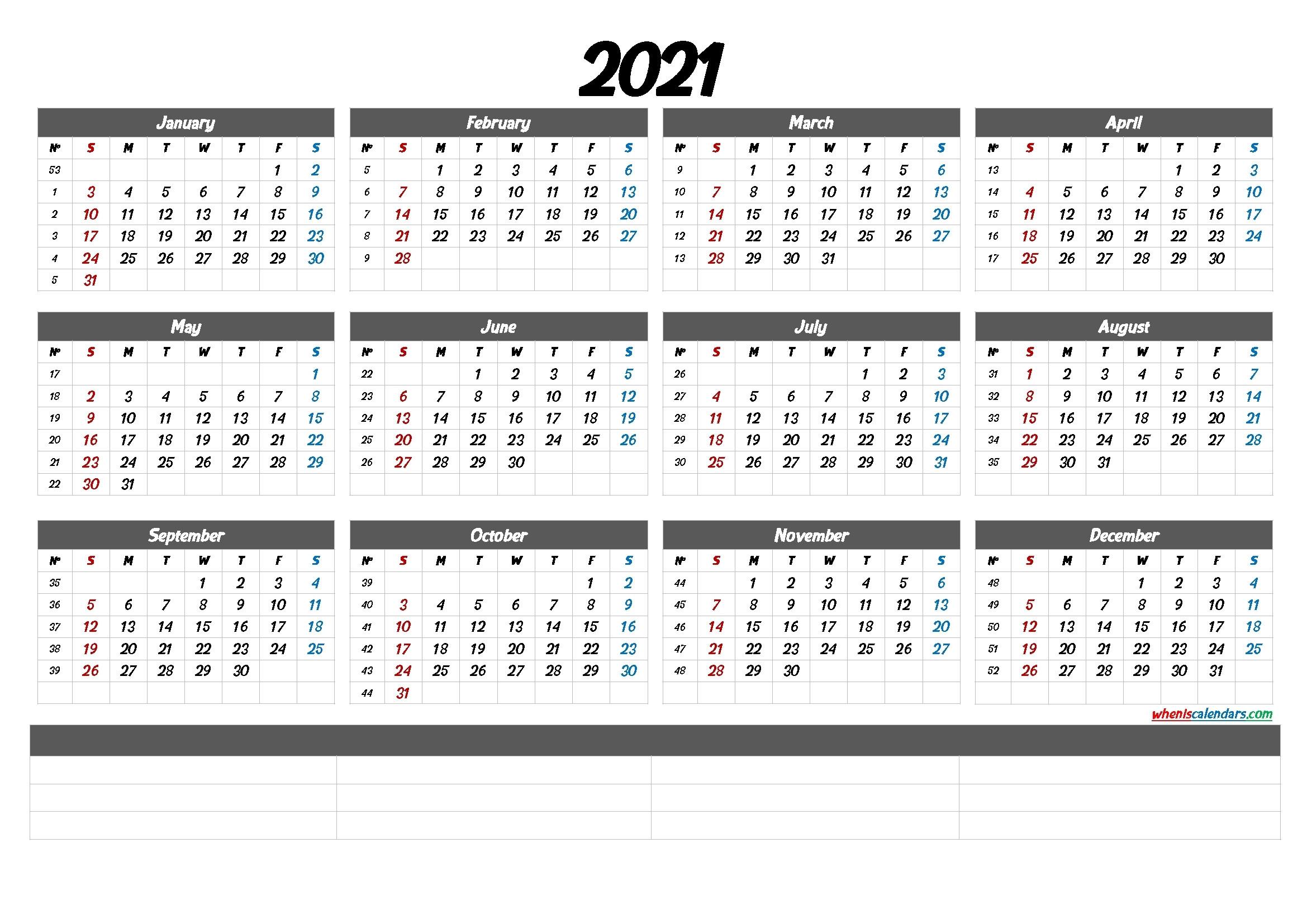 2021 Yearly Calendar With Week Number Printable | Ten Free-Excel Calendar 2021 With Week Numbers