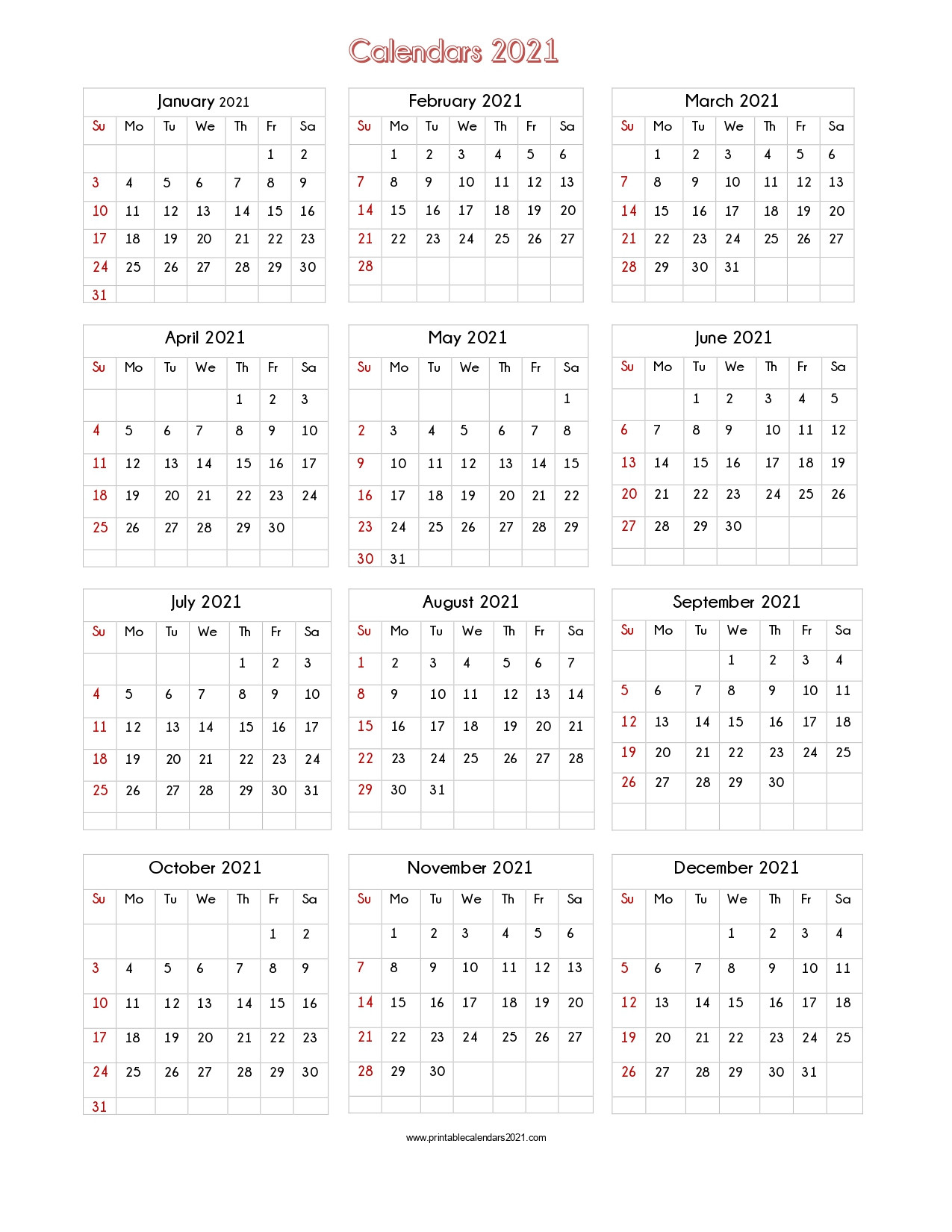 56+ Printable Calendar 2021 One Page, Us 2021 Calendar-Excel 2021 Calendar Vertical List