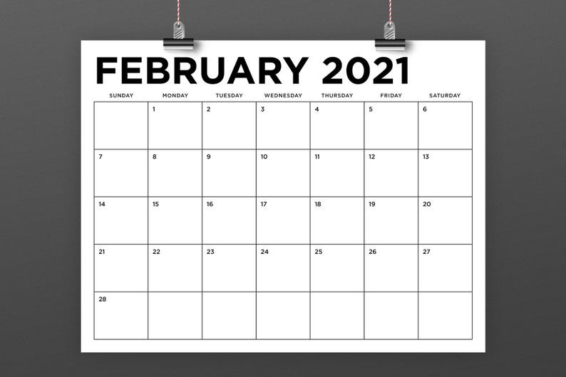 8.5 X 11 Inch 2021 Calendar Template Instant Download   Etsy-Printable 81/2 X 11 January 2021 Calendar