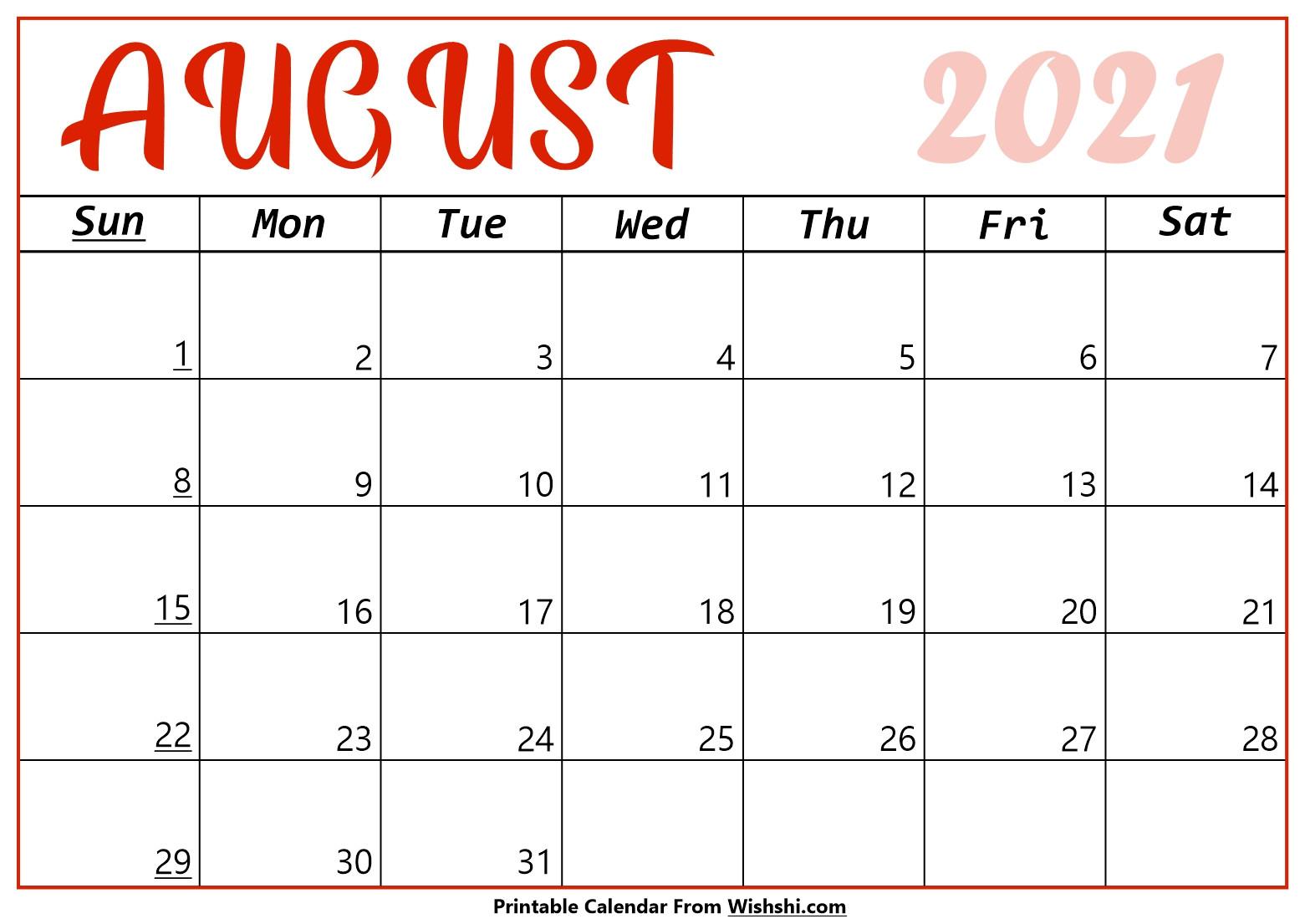 August 2021 Calendar Printable - Free Printable Calendars-Printable Bill Calendar 2021