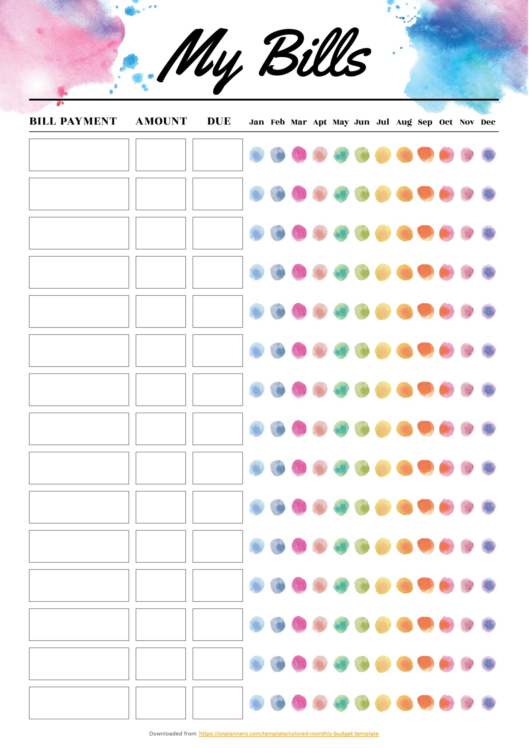 Blank Bill Calendar Printable Colorful - Calendar-Printable Bill Payment Calendar 2021