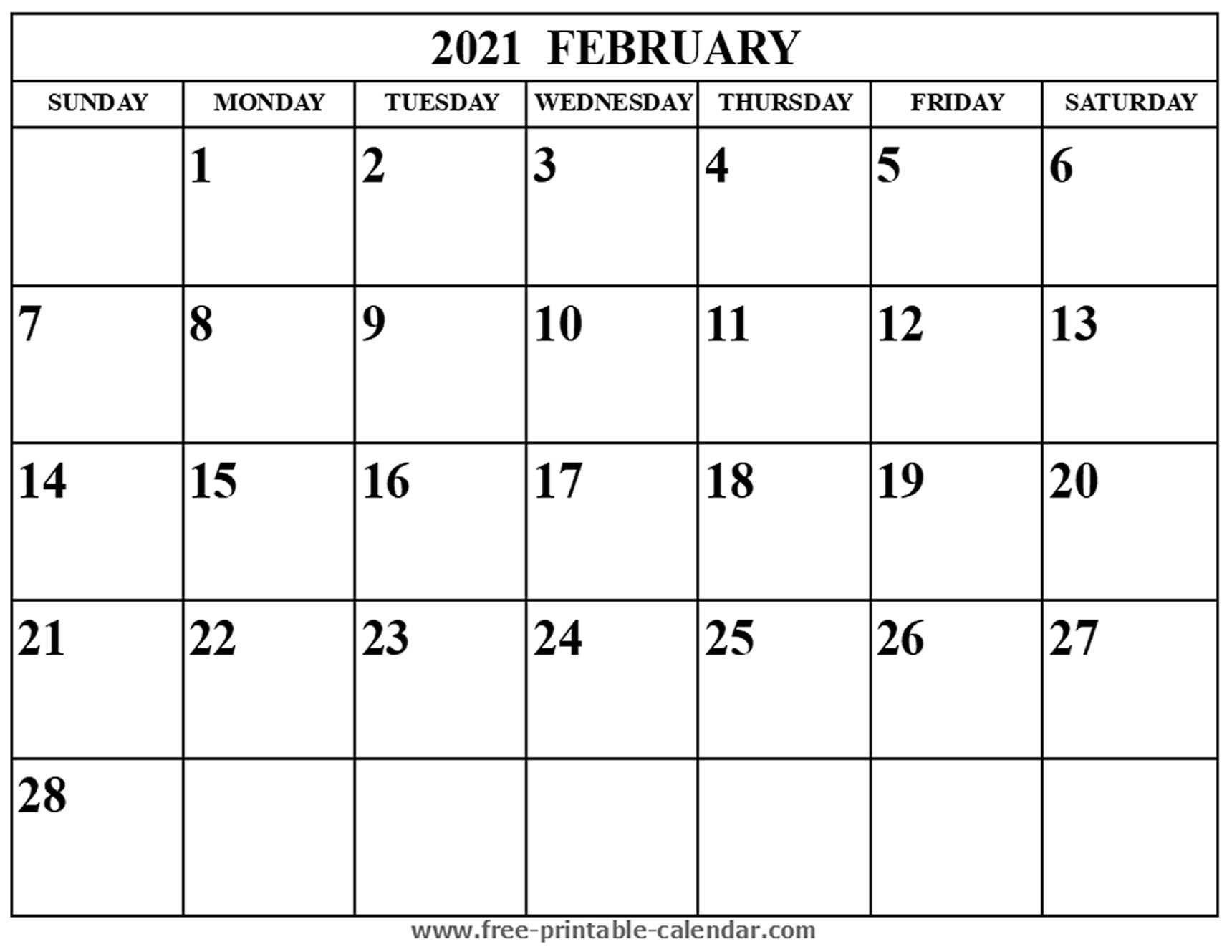 Blank February 2021 Calendar - Free-Printable-Calendar-Fill In Calendar January 2021