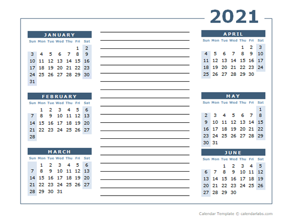 Blank Two Page Calendar Template For 2021 - Free Printable-2021 Two Page Monthly Calendar Printable