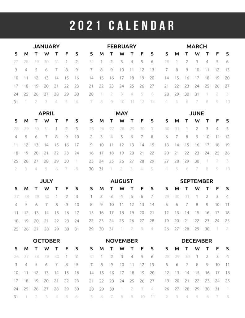 Calendar 2021 Printable One Page - World Of Printables-Printable 81/2 X 11 January 2021 Calendar