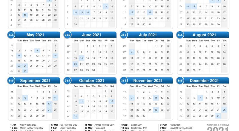 Calendar 2021 - Printable Week Calendar-Excel Calendar 2021 With Week Numbers