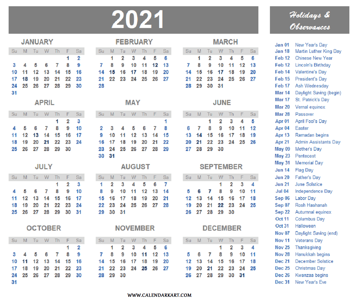 Calendar For 2021 With Holidays And Ramadan / United-Excel List Of Holidays 2021