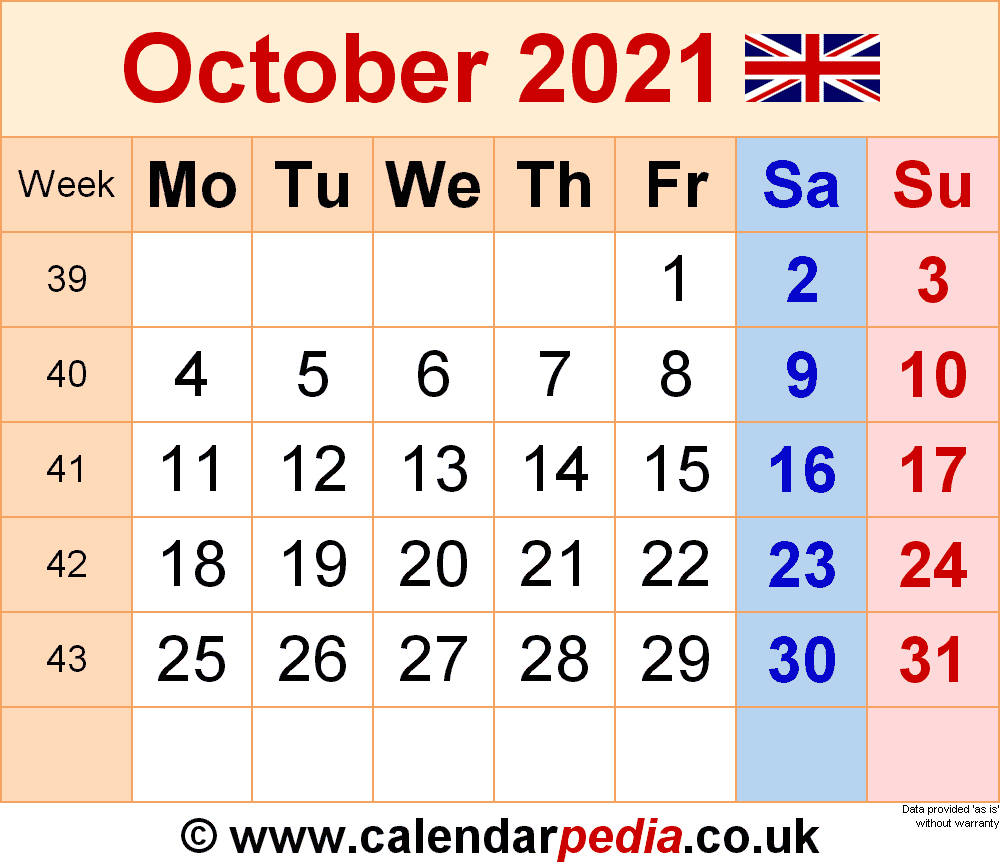 Calendar October 2021 Uk With Excel, Word And Pdf Templates-Excel 2021 Calendar Vertical List