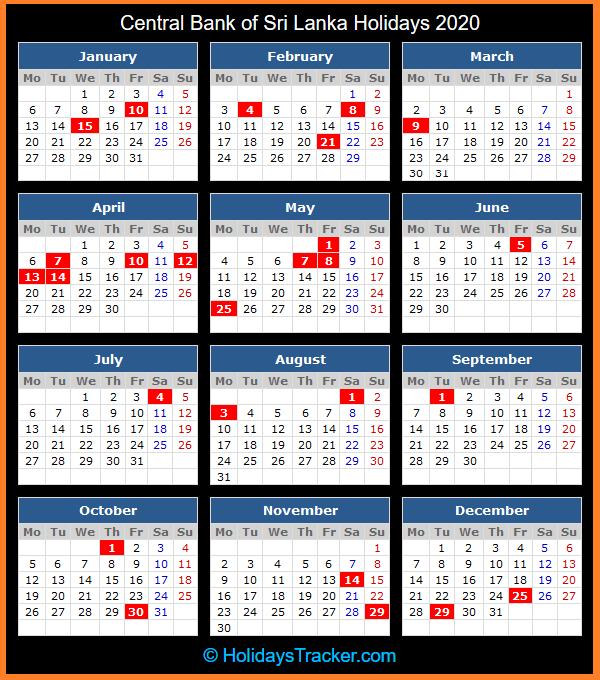 Central Bank Of Sri Lanka Holidays 2020 - Holidays Tracker-2021 Holidays Mercantile Sl