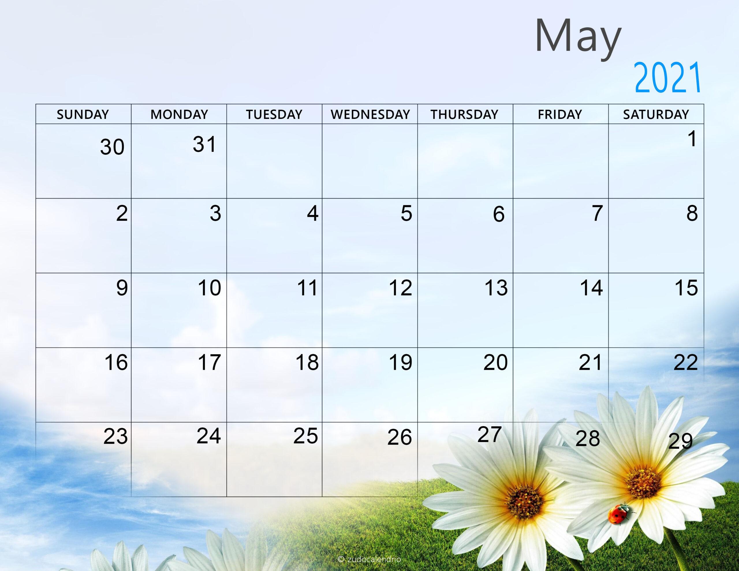Cute May 2021 Calendar Printable Wallpaper - Thecalendarpedia-Monthly Calendar 2021 For Wallpaper