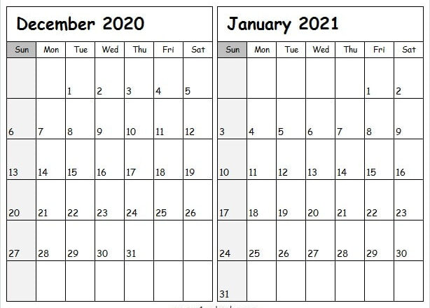 Dec 2020 Jan 2021 Printable A4 Calendar - Dec 2020 Calendar-January Through December 2021 Calendar
