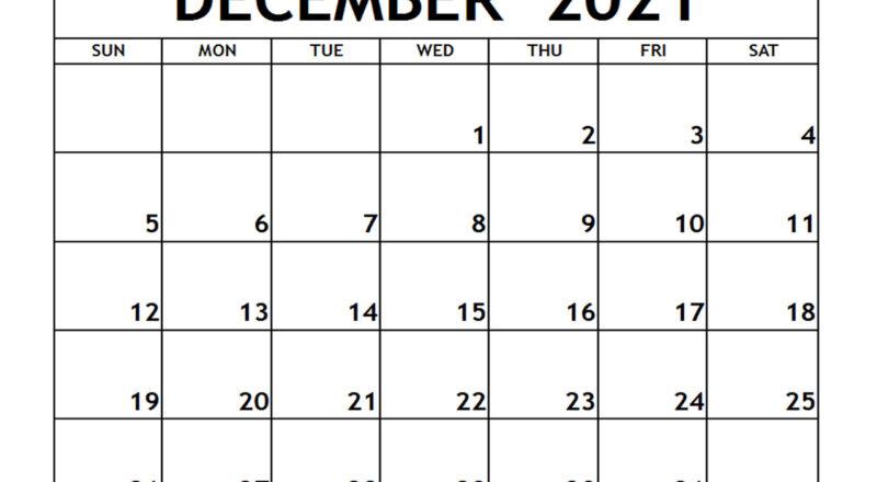 Dec 2021 Printable Calendar | Free Printable Calendar-Free Printable Calendar 2021 Monthly