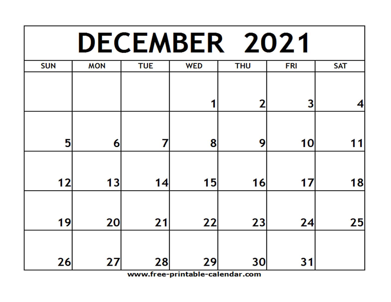 Dec 2021 Printable Calendar   Free Printable Calendar-Free Printable Calendar 2021 Monthly