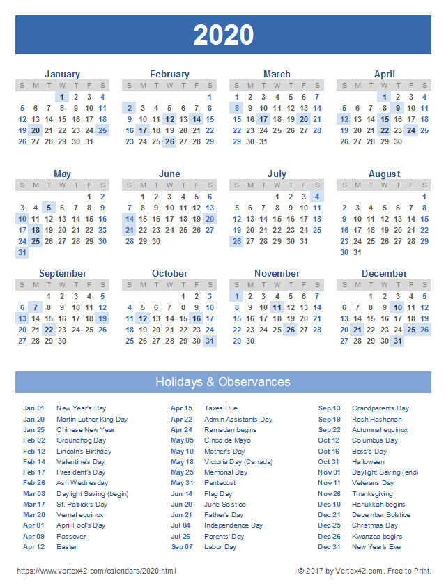 Download A Free Printable 2020 Calendar With Holidays From-Excel List Of Holidays 2021