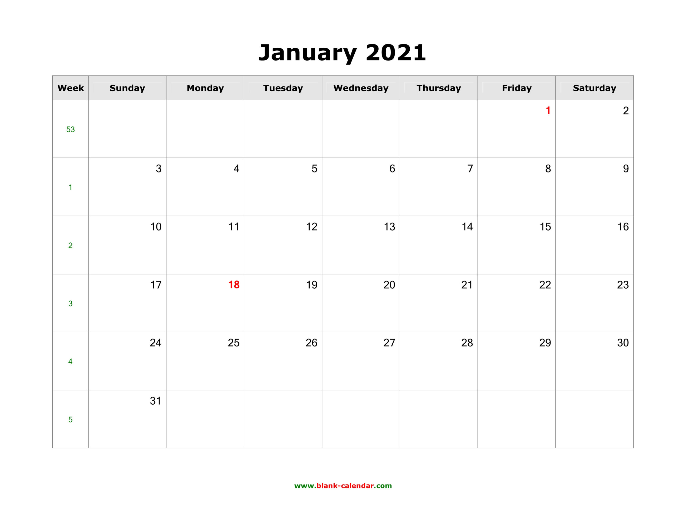 Download Blank Calendar 2021 (12 Pages, One Month Per Page-2021 Two Page Monthly Calendar Printable