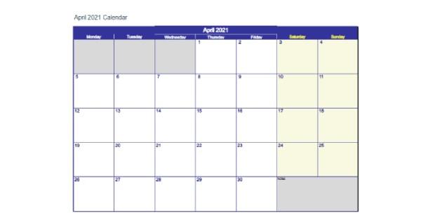 Editable April 2021 Calendar Excel - 2021 Calendar-Free Editable Calendar Template 2021 Excel
