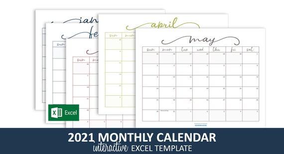 Elegant Monthly Calendar 2021 Excel Template Printable   Etsy-Excel 2021 Calendar Vertical List