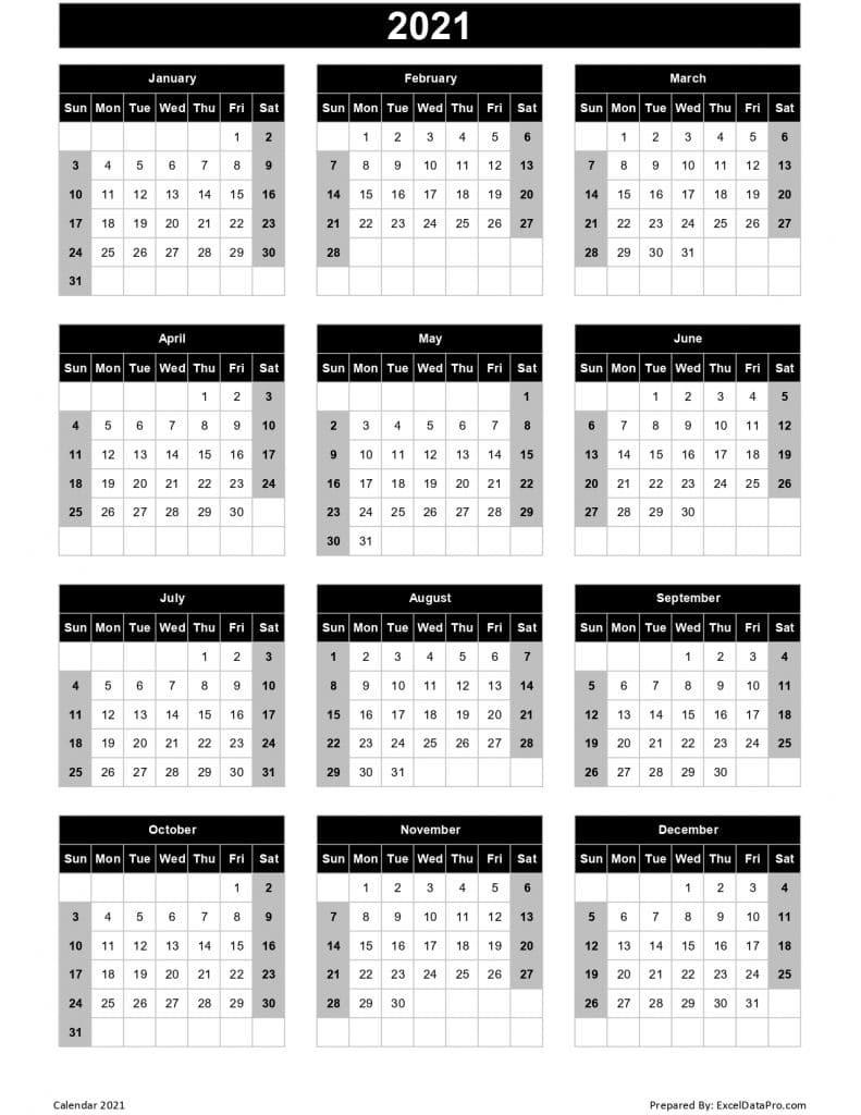 Excel Calendar With Week Numbers 2021 | Calendar-Excel Calendar 2021 With Week Numbers