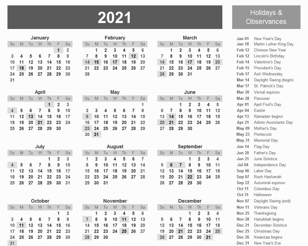 Federal Holidays 2021 Calendar - Example Calendar Printable-Printable Calendar 2021 With Major Holidays