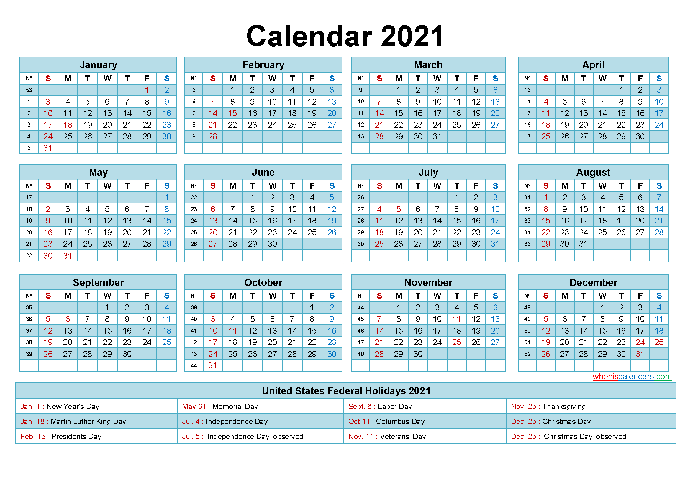 Free 2021 Printable Calendar With Holidays-Free Printable Monthly Calender 2021