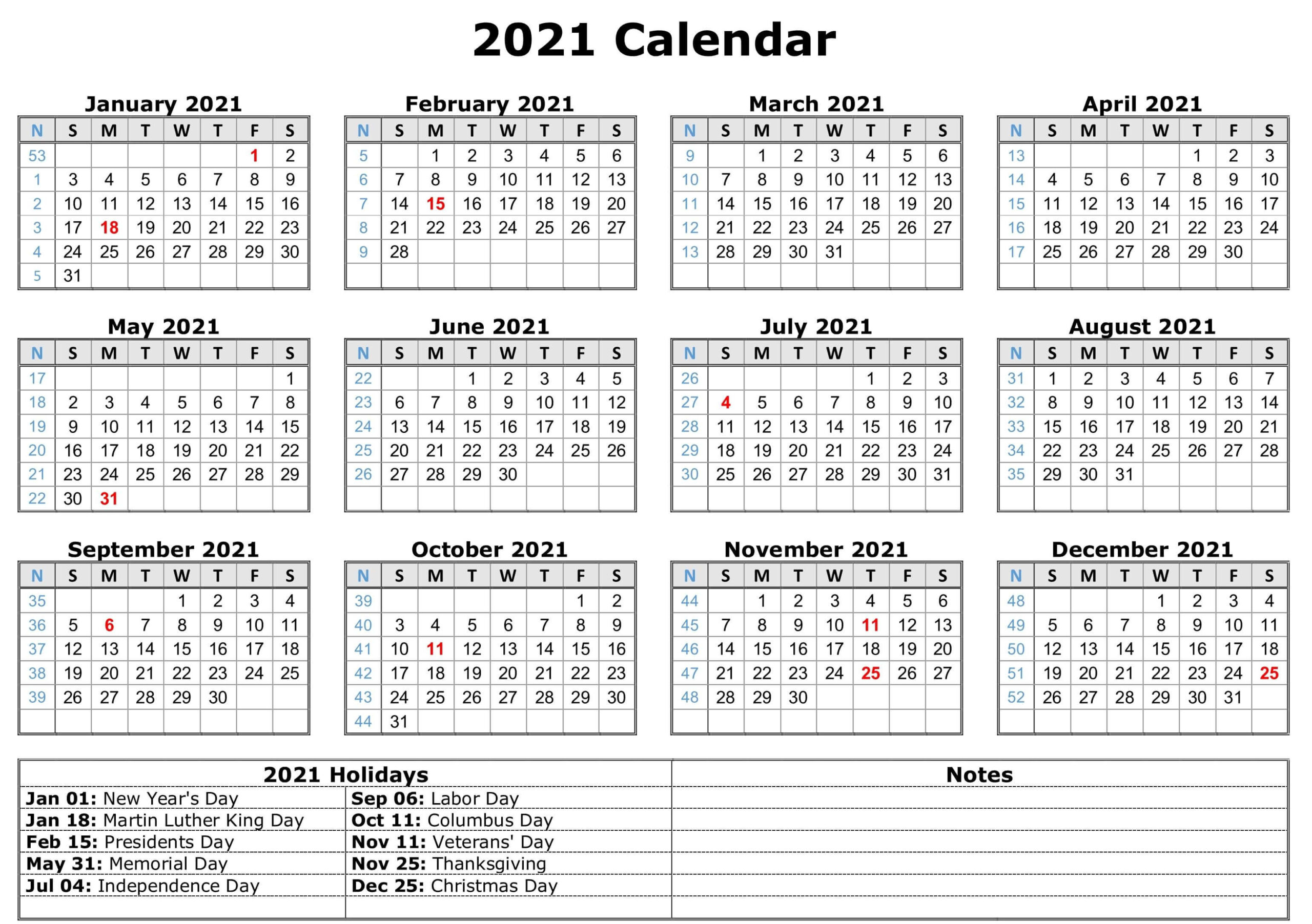 Free Blank Monthly 2021 Printable Calendar Template-Fillable Calendar 2021-2021 Year