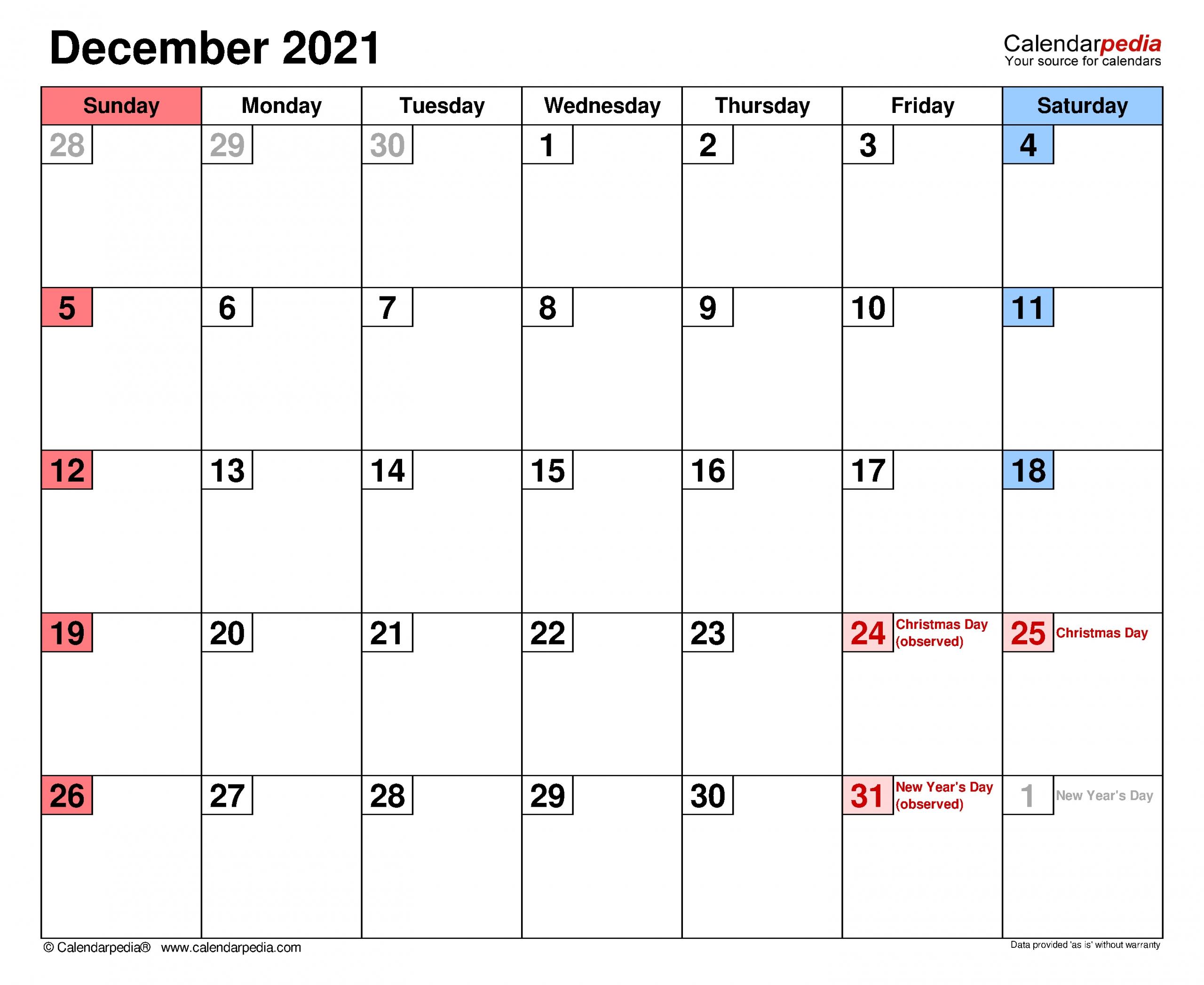 Free Editable December 2021 Calendar   Month Calendar-Free Editable Calendar Template 2021 Excel