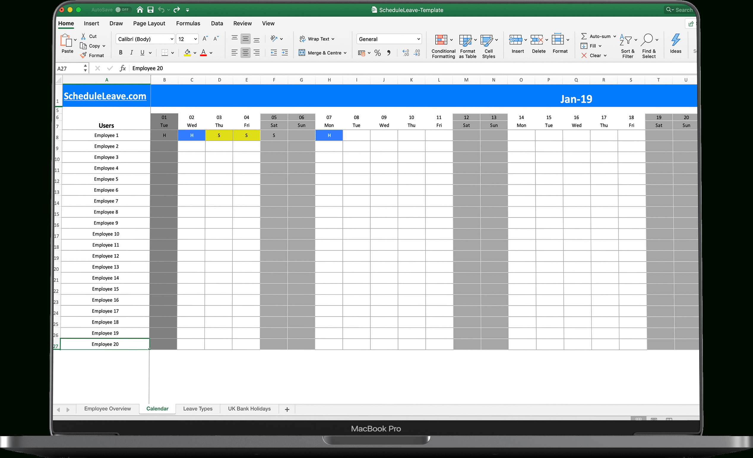 Free Excel Leave Calendar 2021 Spreadsheet Template-2021 Employee Vacation Calendar