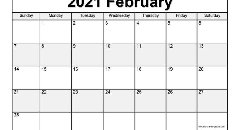 Free February 2021 Calendar Printable (Pdf, Word)-2021 Calendar Fillable