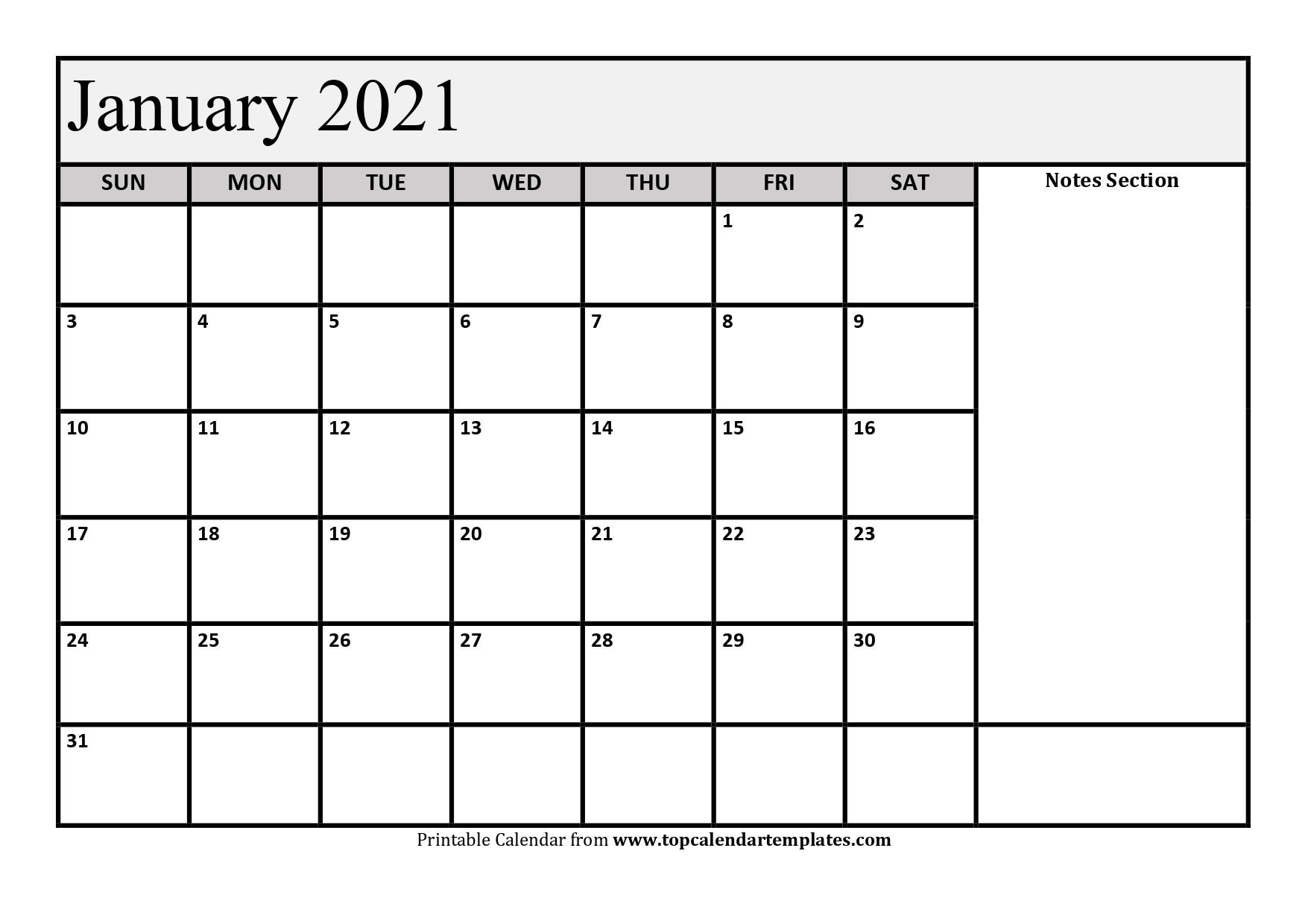 Free January 2021 Calendar Printable - Monthly Template-Free Printable Calendar 2021 Monthly