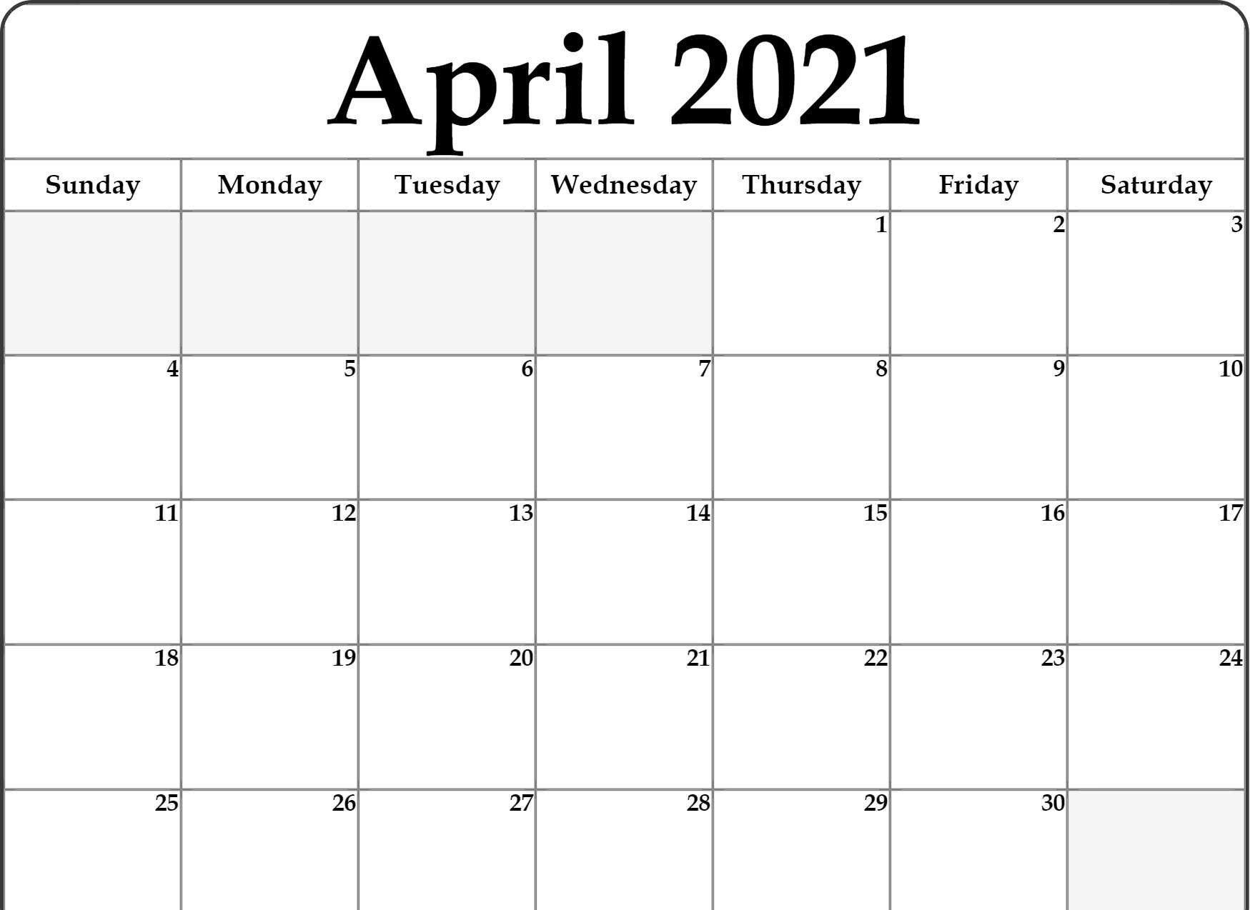 Free Monthly Blank April 2021 Calendar Printable Template-Free Editable Calendar Template 2021 Excel
