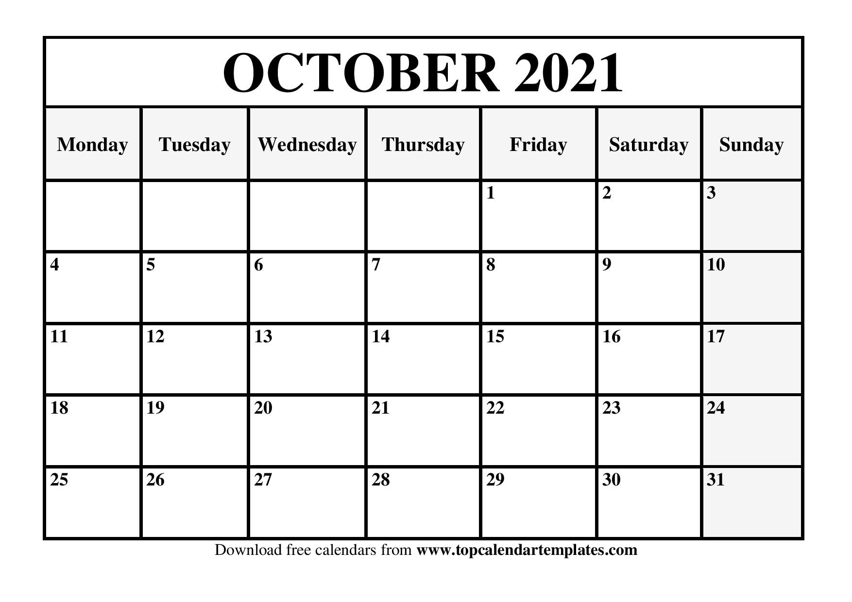 Free October 2021 Calendar Printable - Blank Templates-Monthly Schedule Planner August 2021