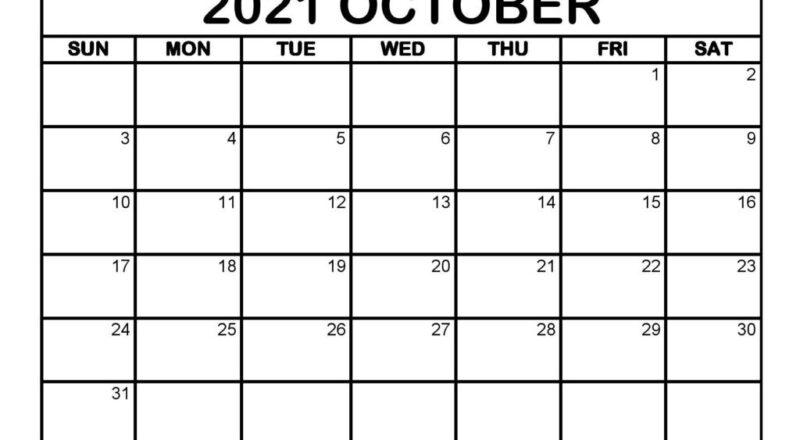 Free October 2021 Calendar Printable (Pdf, Word) Templates-Printable Blank Monthly Calendar August 2021